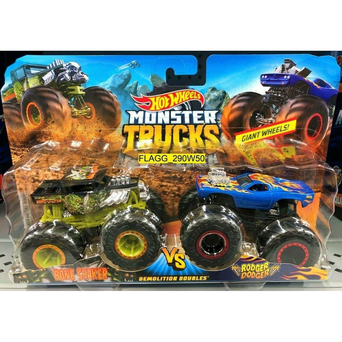 Mattel Hot Wheels Monster trucks demoliční duo Bone Shaker VS Rodger Dodger