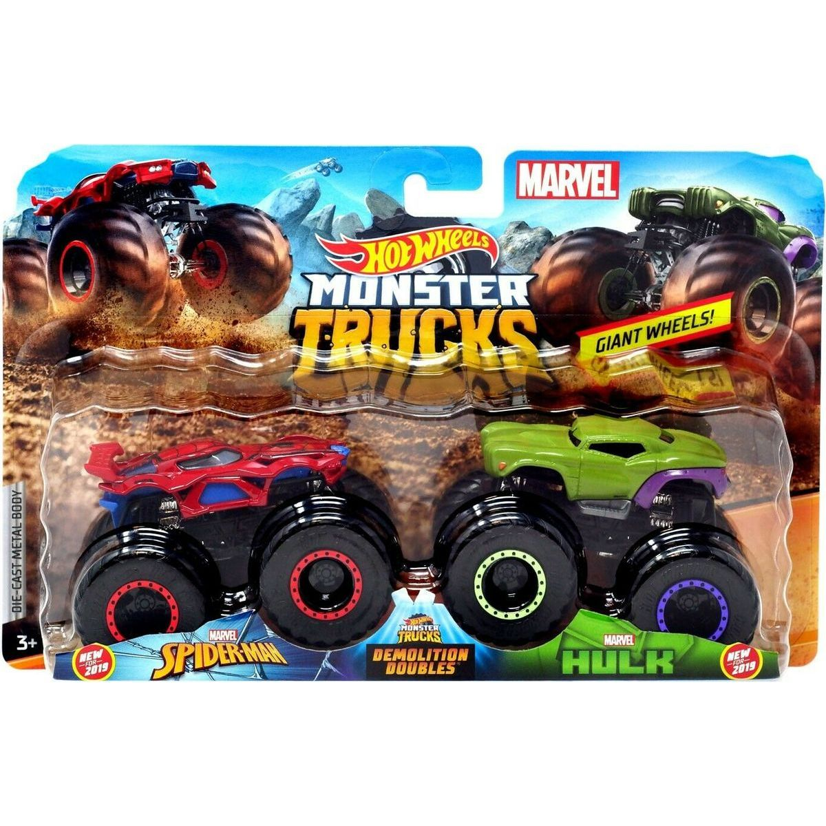 Mattel Hot Wheels Monster trucks demoliční duo Spiderman VS Hulk