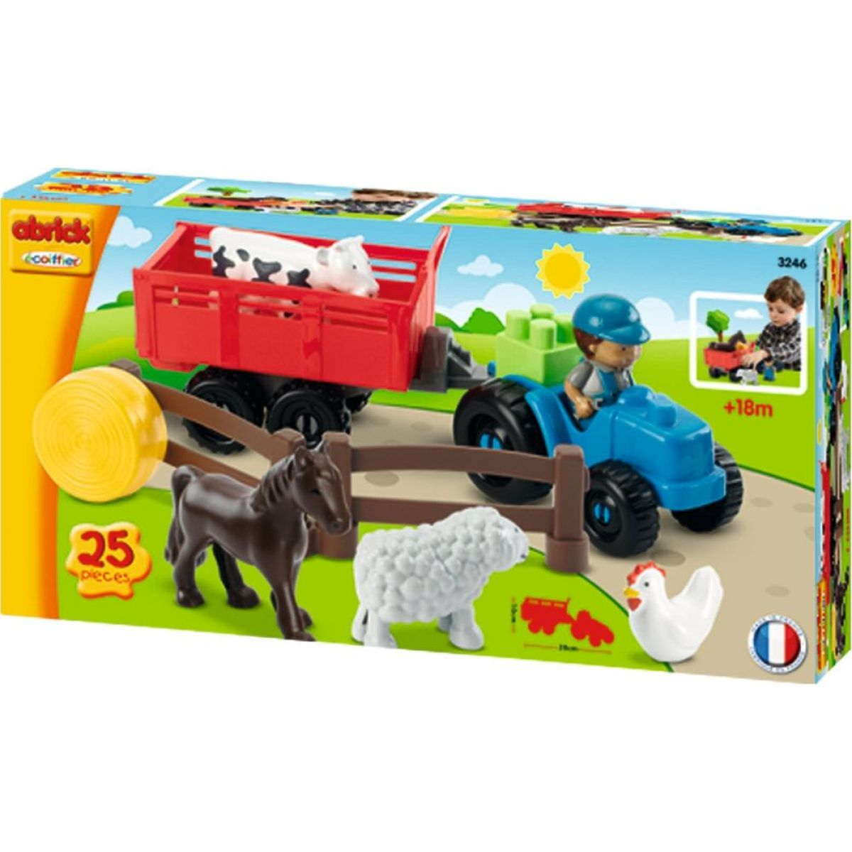 Abrick 3246 Traktor s přívěsem a zvířaty