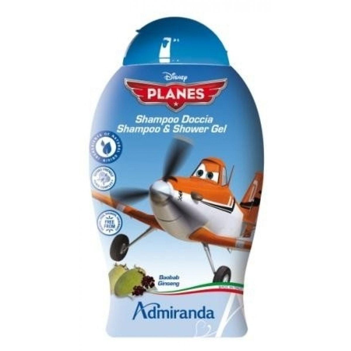 Admiranda Dětský sprchový gel a šampón 250ml Planes s baobabem a ženšenem