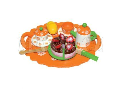 Čajová souprava s dortem na tácku Bino 83414