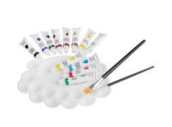 Akrylové barvy Set 12 barvy, 2 štětce, paleta