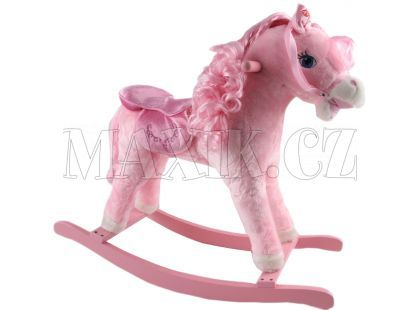 Alltoys Houpací koník růžový s dlouhou hřívou