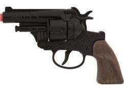 Alltoys Policejní revolver černý kovový 12 ran rytina