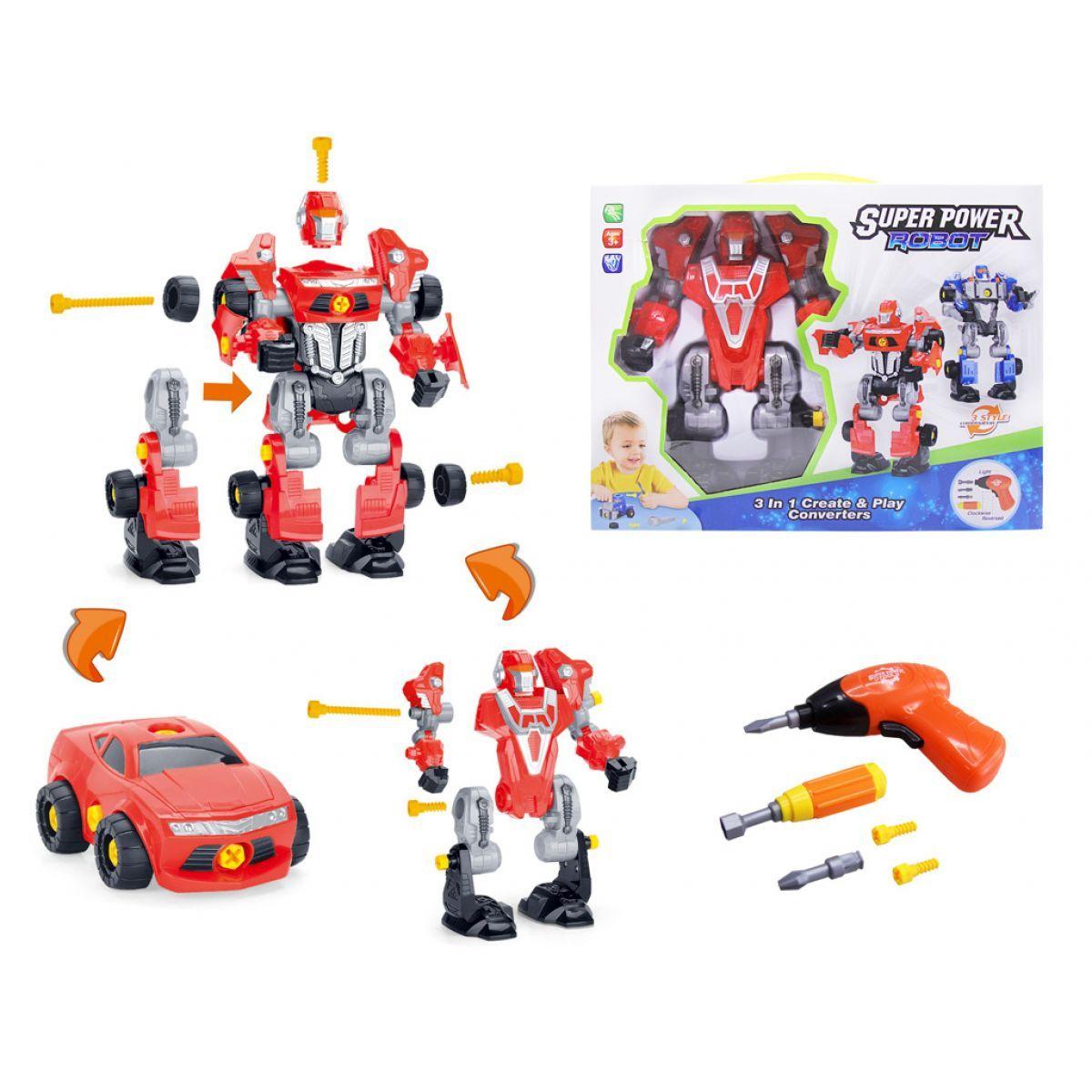 Alltoys Šroubovací robot s vrtačkou se světlem Červený - Poškozený obal