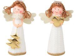 Anděl v bílých pletených šatech 13 cm