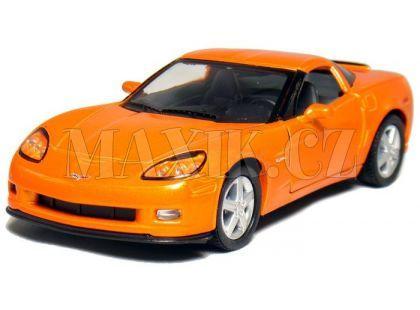 Auto Kinsmart Chevrolet Corvette C6 kov 13cm na zpětné natažení - Oranžová