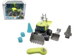 Auto-Stavební stroj RC plast 15 x 20 cm na baterie s doplňky v krabici