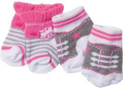 Baby Born Ponožky 2 páry 823576 růžové s kačenkou a šedé s tkaničkami