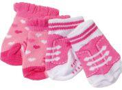 Baby Born Ponožky 2 páry 823576 růžové se srdíčky a růžové s tkaničkami