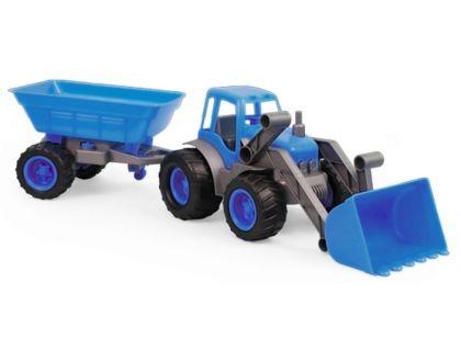 Bagr s přívěsem na gumových kolech - Modrá