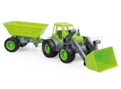 Bagr s přívěsem na gumových kolech - Zelená