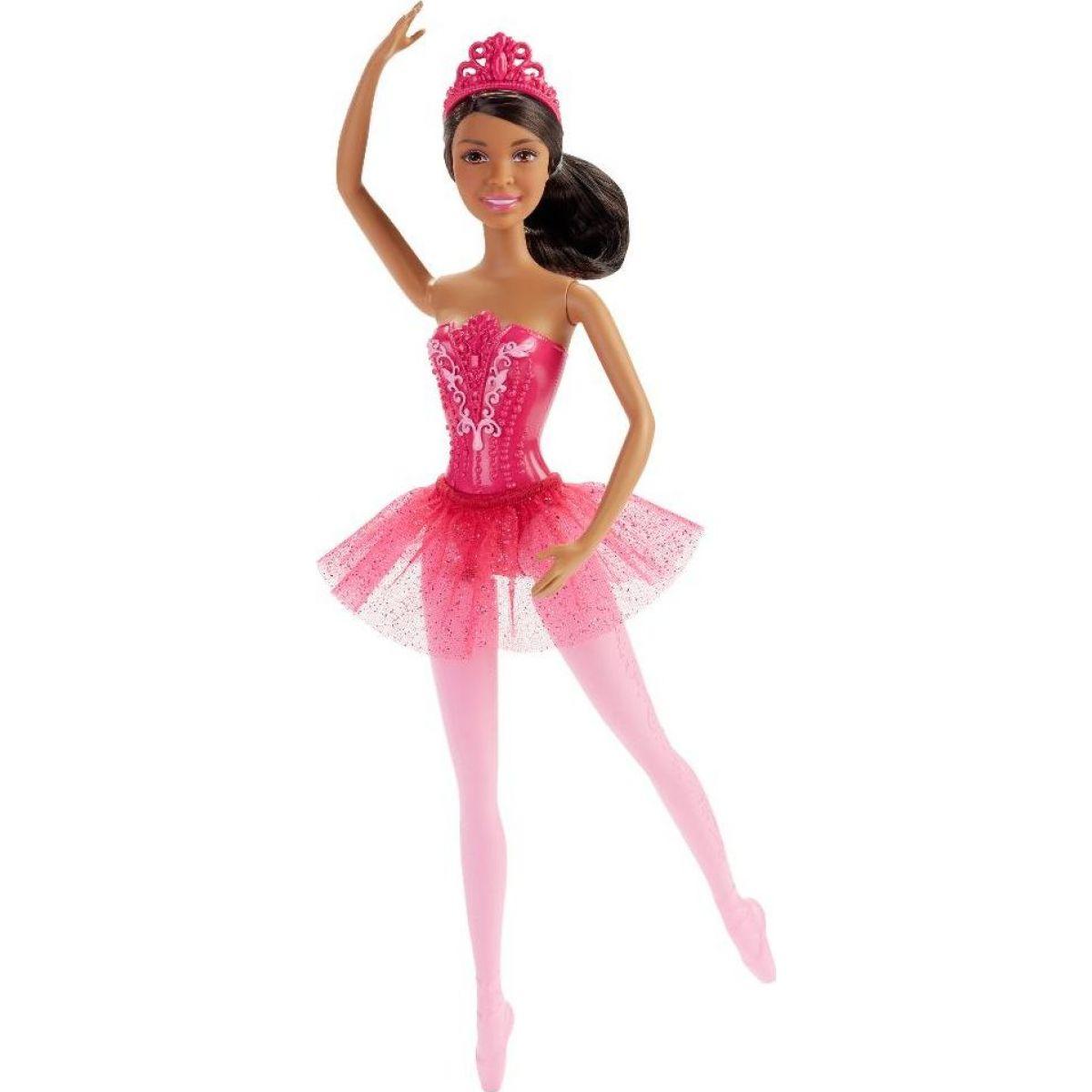 Barbie Panenka balerína brunetka růžové šaty