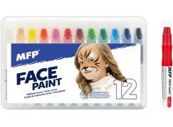 Barvy na obličej a tělo 12ks v krabičce 22x14cm karneval