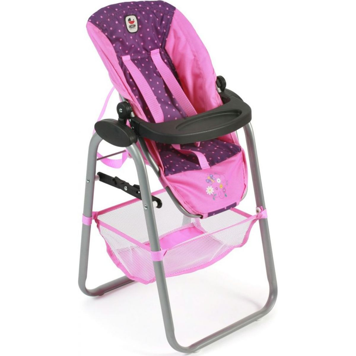 Bayer Chic Jídelní židlička pro panenku - Dots purple pink