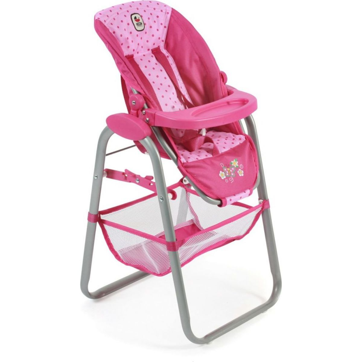 Bayer Chic Jídelní židlička pro panenku - Pink Dots