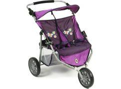 Bayer Chic Kočárek pro dvojčata panenky Jogger - Purple Checker