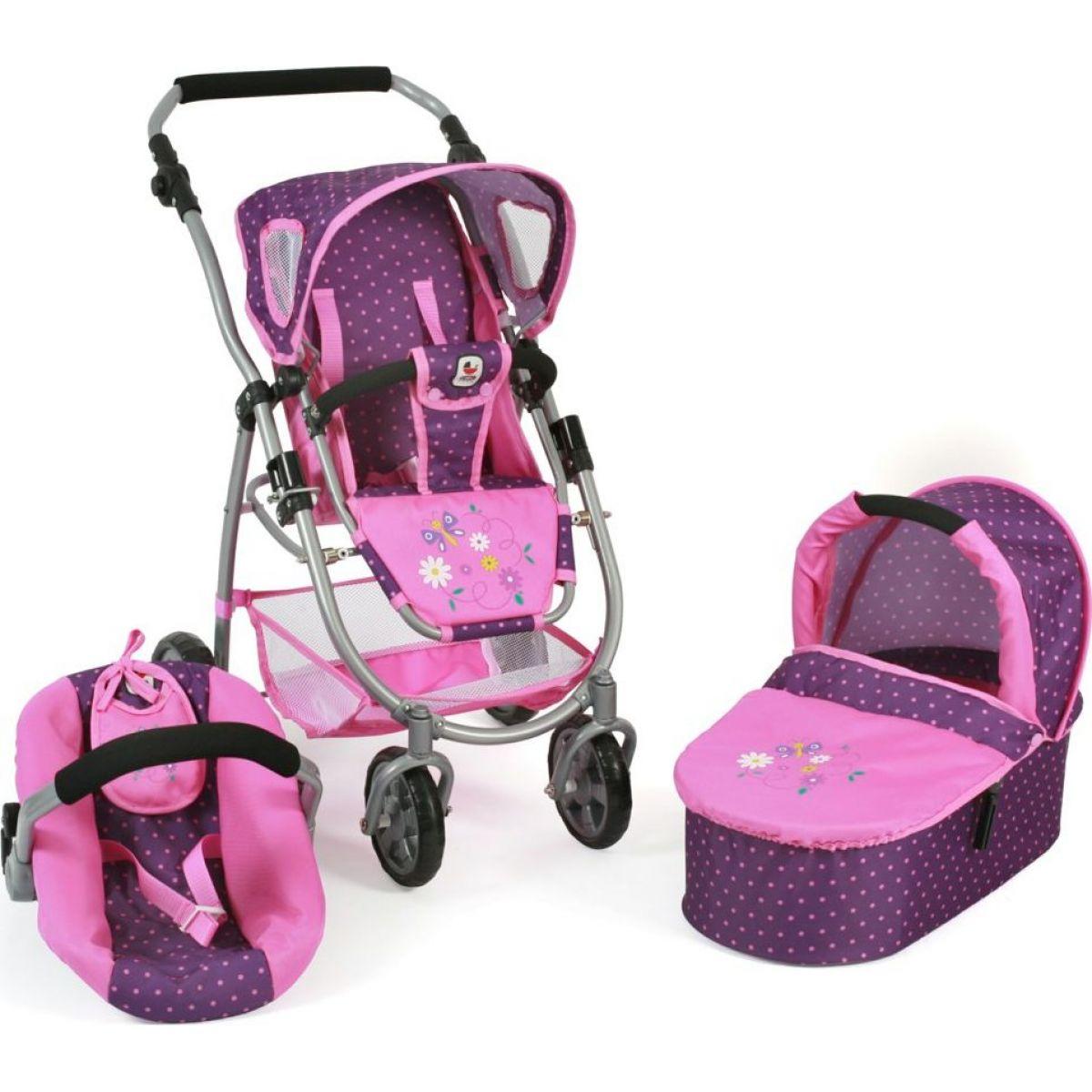 Bayer Chic Kočárek pro panenky Emotion All In 3v1 - Dots purple pink