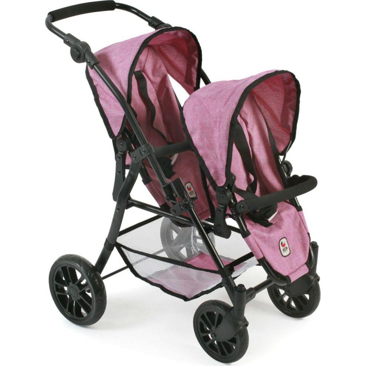 Bayer Chic Kočárek pro panenky Twinny - Pink Jeans