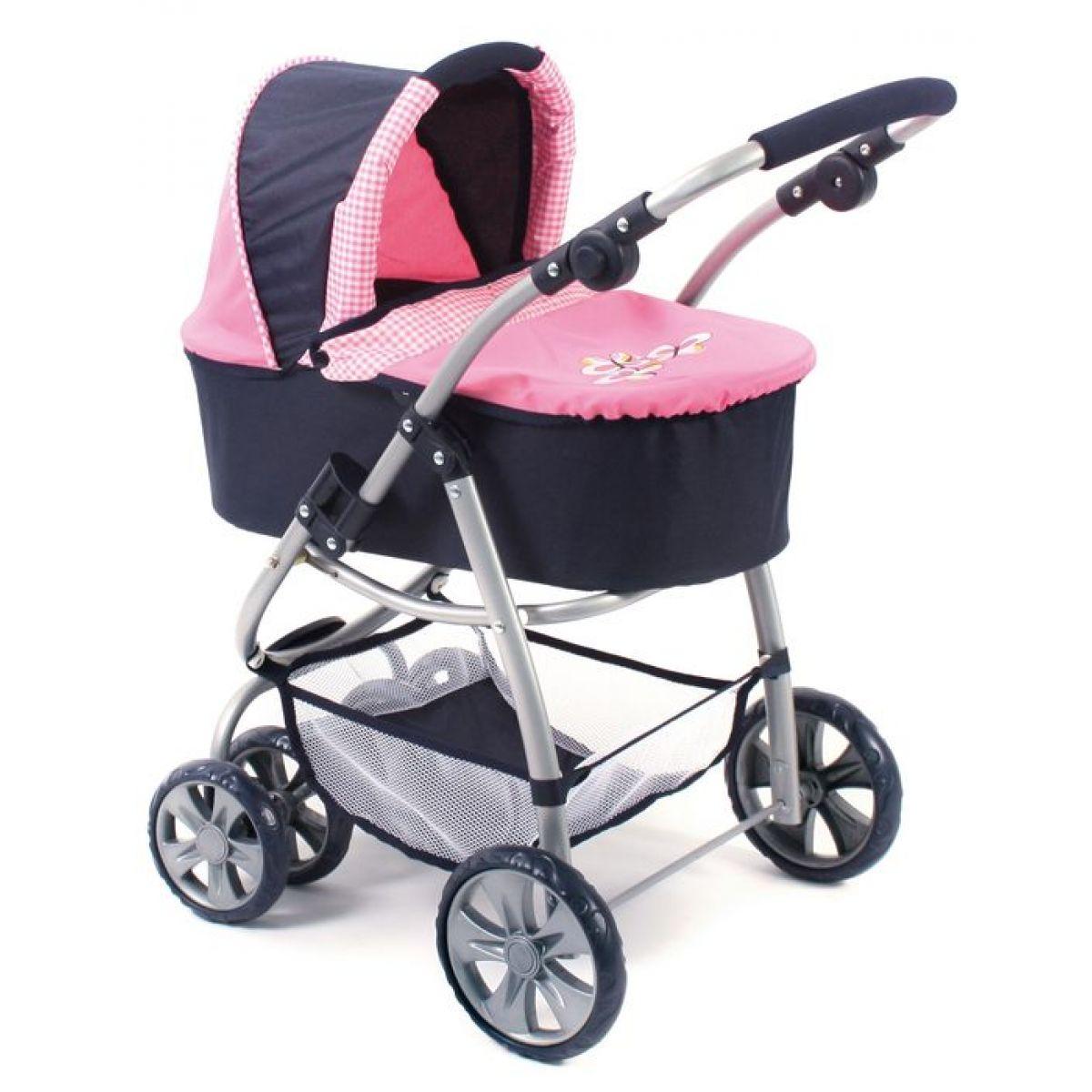 Bayer Chic Kočárek pro panenku Bellina 2v1 - pink checker
