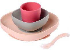 Béaba Jídelní sada silikonová 4-dílná Pink