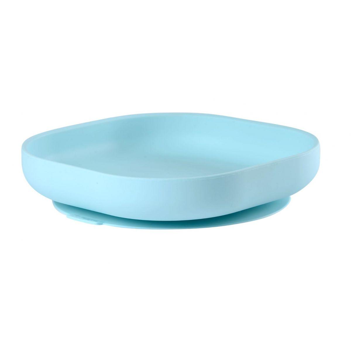 Béaba Talíř silikonový s přísavkou Blue