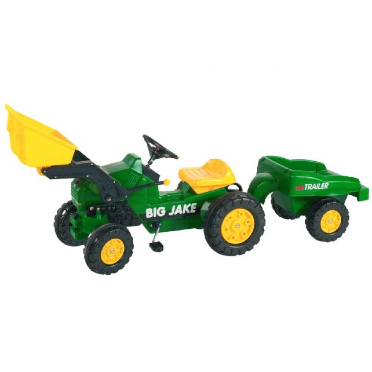 BIG Šlapací traktor s radlicí a přívěsem