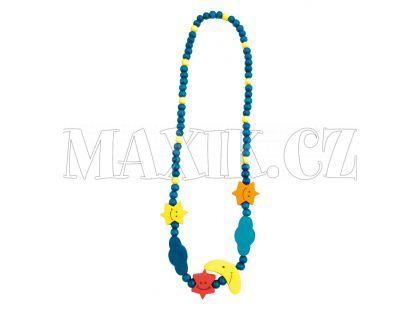 Bino Dřevěný náhrdelník - korále měsíc