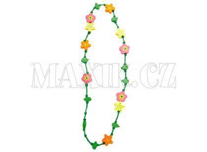 Bino Dřevěný náhrdelník - květina