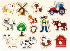 Bino Dřevěné puzzle farma