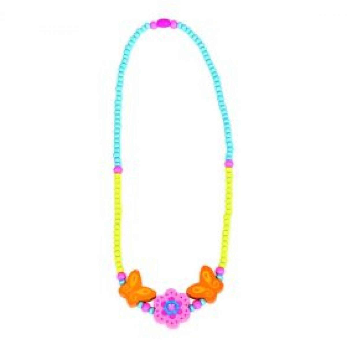 Bino dřevěný náhrdelník růžová kytička