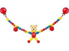 Bino Dřevěný řetěz do kočárku medvě Cara