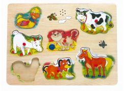 Bino Hrací puzzle na desce, zvířecí hlasy