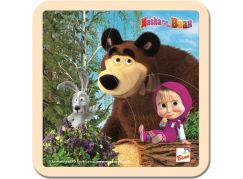 Bino Máša a medvěd puzzle se zajícem 15x15cm