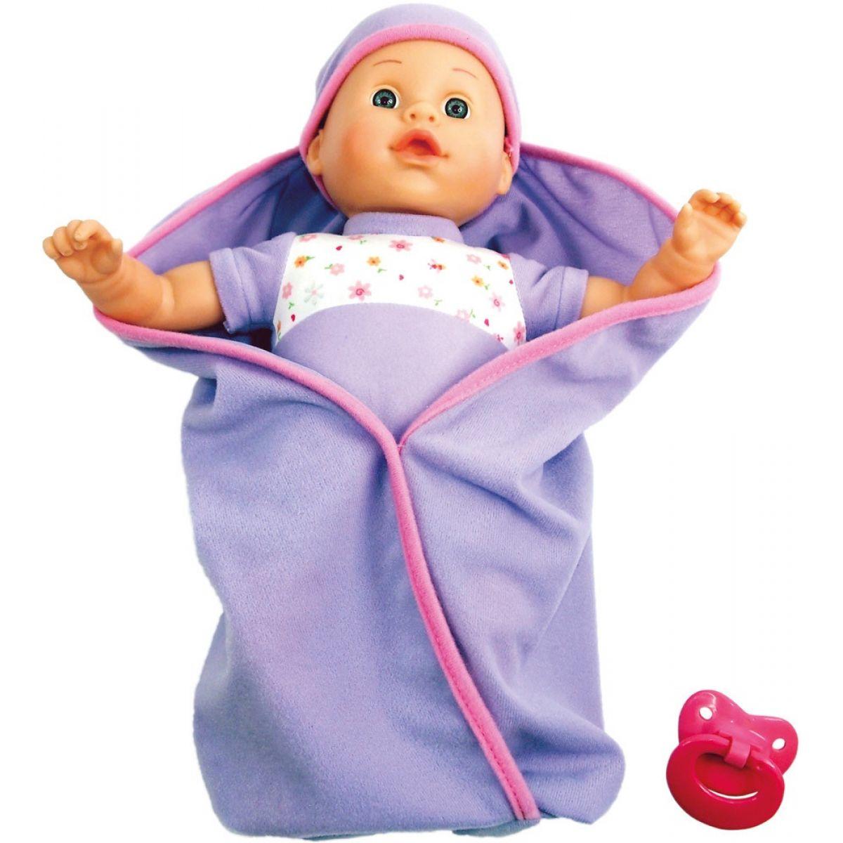 Bino Mluvící panenka v peřince fialová