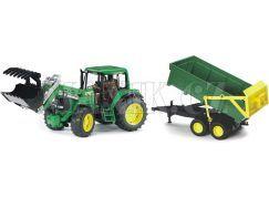 Bruder 01134 Traktor John Deere 6920 s přívěsem a přední lžící
