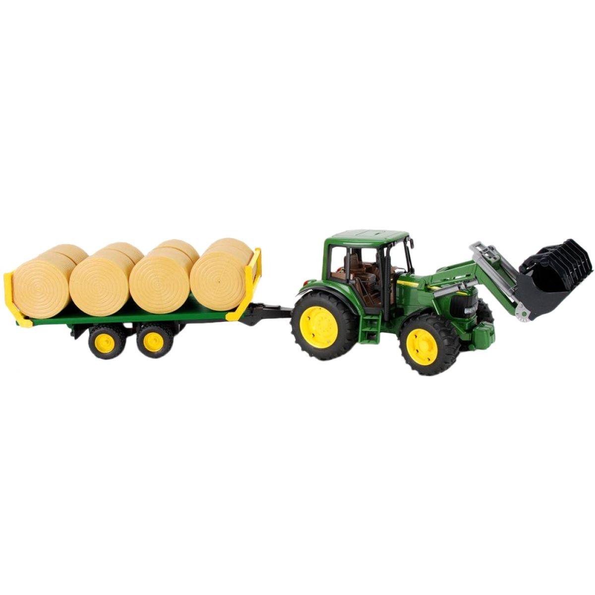 Bruder 01634 Traktor John Deere 6920 s přívěsem a balíky