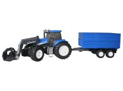Bruder 01993 Traktor New Holland T8040 s vlekem a čelním nakladačem