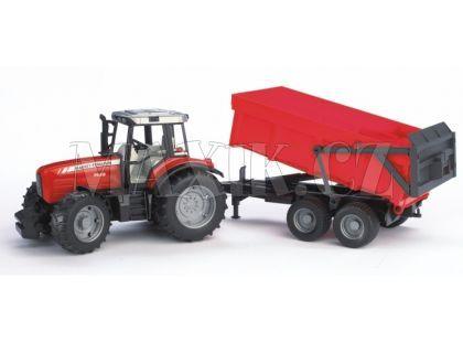 Bruder 02045 Traktor Massey Ferguson+červený vůz