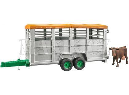 Bruder 02227 Přívěs na hospodářská zvířata a kravička