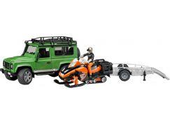 Bruder 02594 Land Rover s valníkem, sněžným skútrem a figurkou