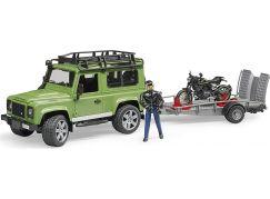 Bruder 02598 Land Rover Station Wagon s přívěsem, Scrambler Ducati Cafe Racer a řidič