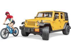 Bruder 2543 Jeep Wrangler Rubicon s horským kolem a ciklistou