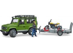 Bruder 2589 Land Rover defender  s podvalníkem a motorkou Ducati
