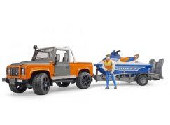 Bruder 2599 Land Rover s vodním skútrem a figurkou