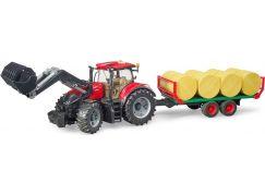 Bruder 3198 Traktor Case IH Optum 300 CVX s čelním nakladačem a přepravníkem balíků + 8 rolí