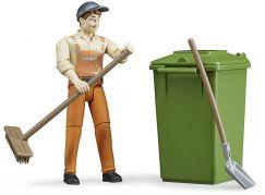 Bruder 62140 Figurka popelář s popelnicí a nářadím