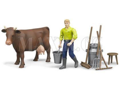 Bruder 62605 Set kráva s figurkou a příslušenstvím