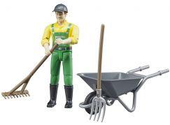 Bruder 62610 Figurka Zemědělec s kolečkem a nářadím