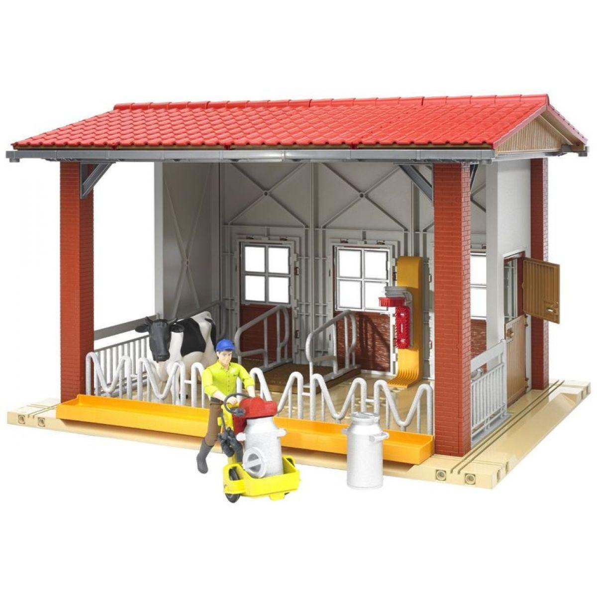 Bruder 62621 Stáj, kráva, figurka, mlékařský set